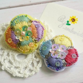 Qy.embroidery Hand Embroidery Colorful Candy Contrast Flower Hair Hairpin Brooch Badge