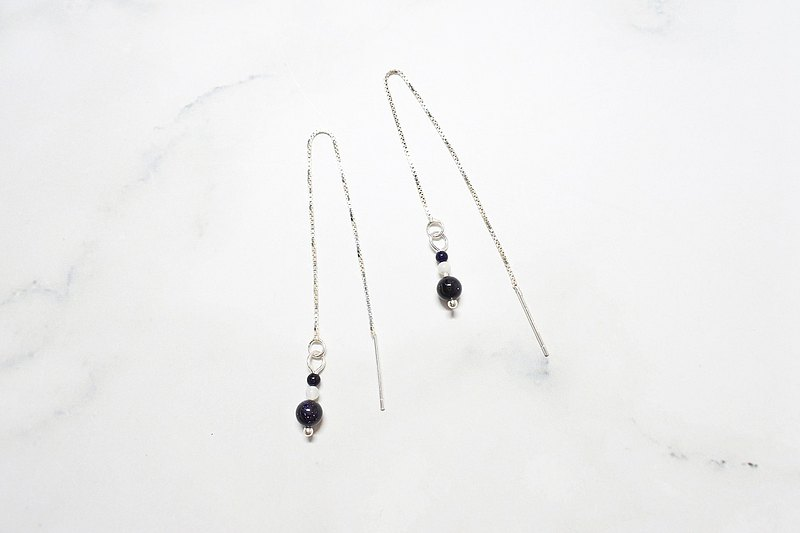 【News from the World】 Natural Stone and White Shell Pure Silver Ear Chain