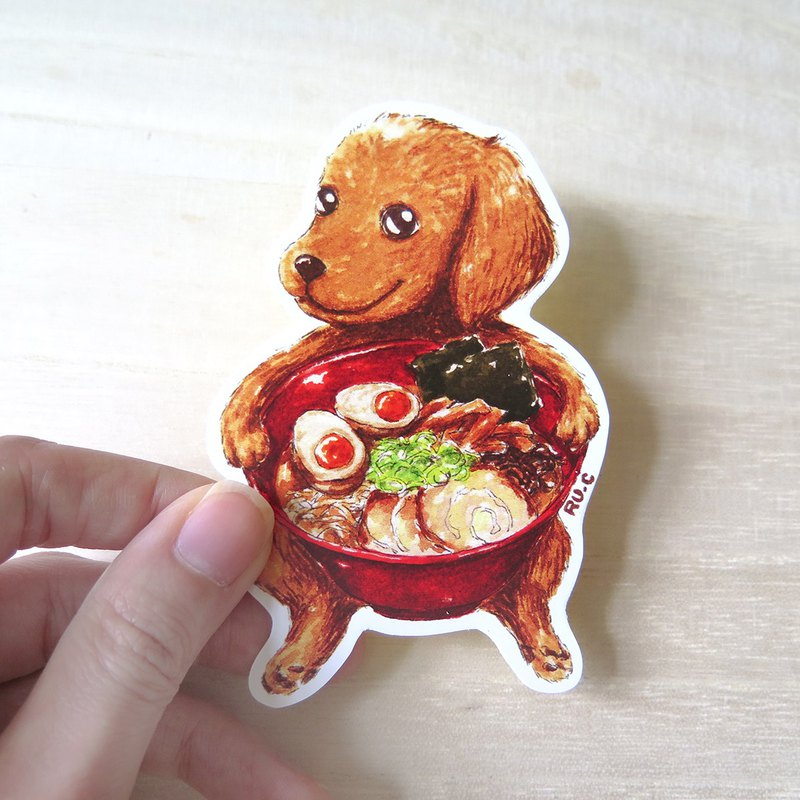 Dog ramen sticker