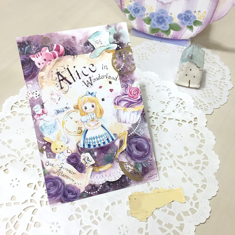 Watercolor postcard / greeting card - Alice on a starry night