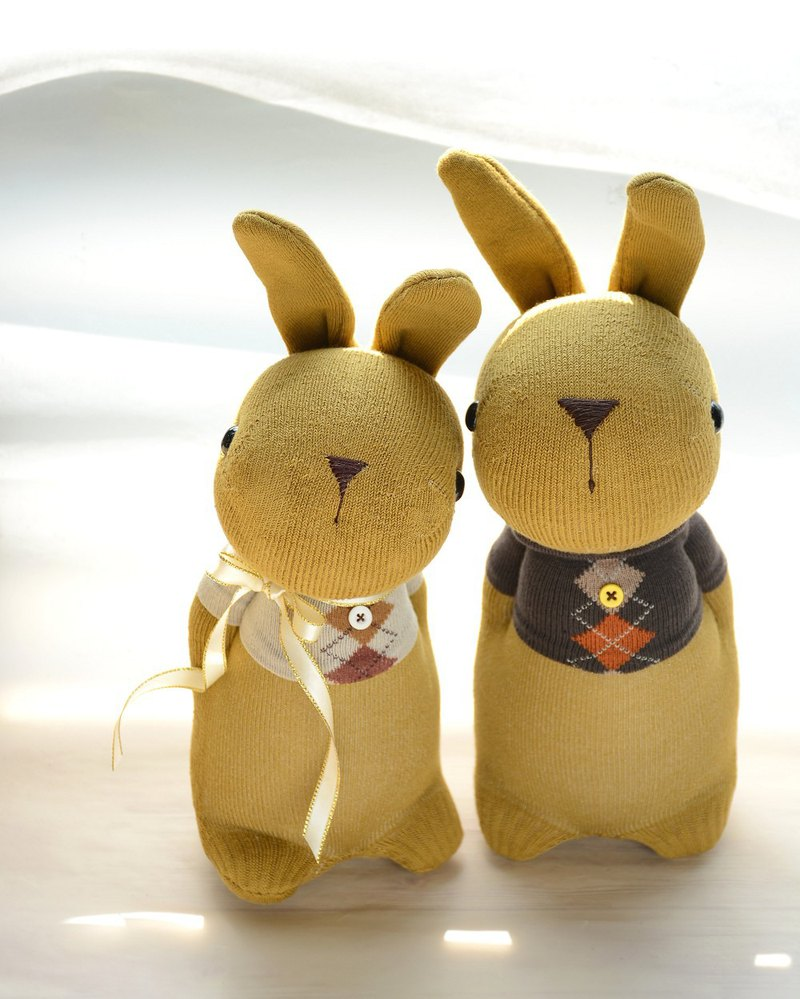 Sock doll ~ natural wind T-shirt couple gold domy rabbit 1 pair / buyer t76313 exclusive store
