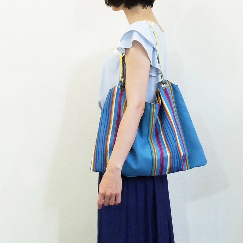Paul Smith Trapezous Pleated Air Sensing Bag US Cloth Flip Change Colors Pillow Yellow & Turkish Blue