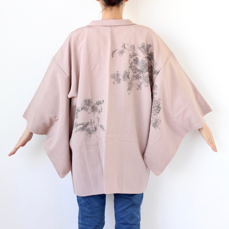 hand-drawing leaf kimono, haori, one of a kind /4064