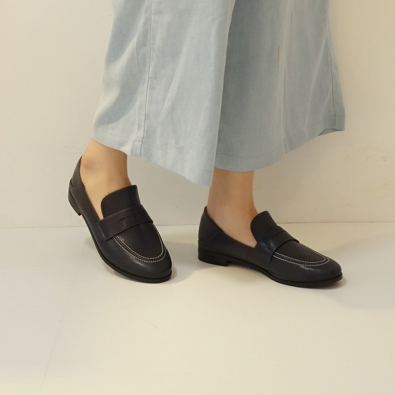 Can be double-worn! Moonwalk penny loafers environmental protection micro fiber MIT-navy