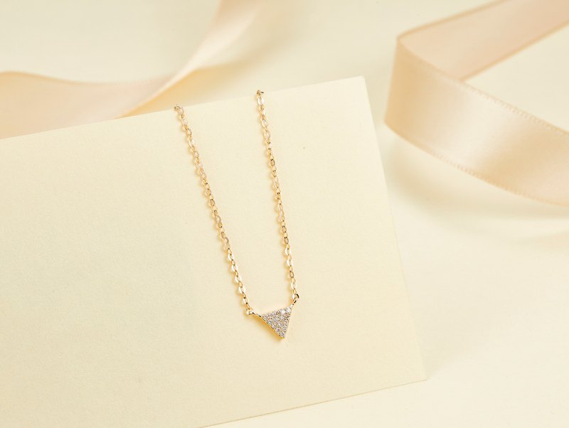 18k Yellow Gold Triangle Diamond Pendant Necklace, Minimal Custom Jewelry P008