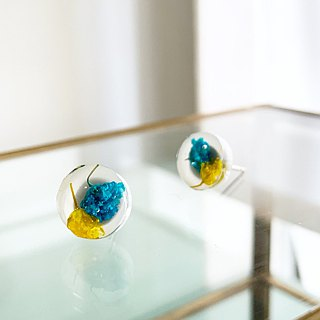Stud earrings for pierced ears contained Yellow and Blue Babys breath (10mm)