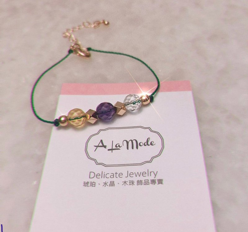 Workplace must-have purple yellow white crystal wax bracelet