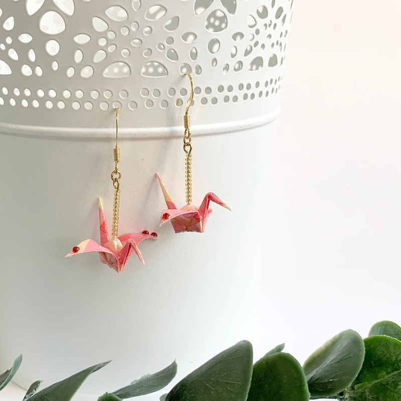 Japanese paper crane gold earring