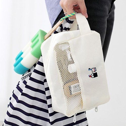 2NUL embroidery hand-held storage bag - pure white, TNL85014