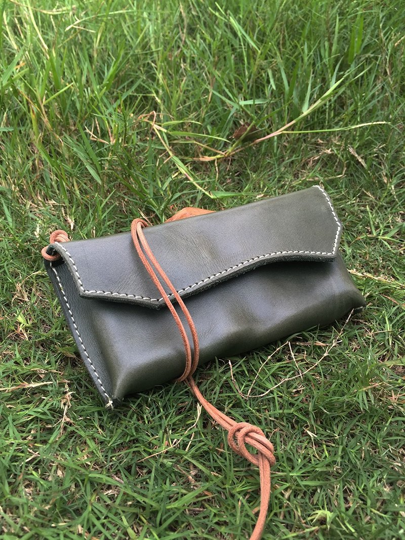 Leather olive green retro leather bags, cell phone bag