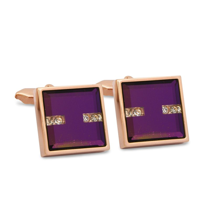 Purple Crystal Cufflinks in Rose Gold