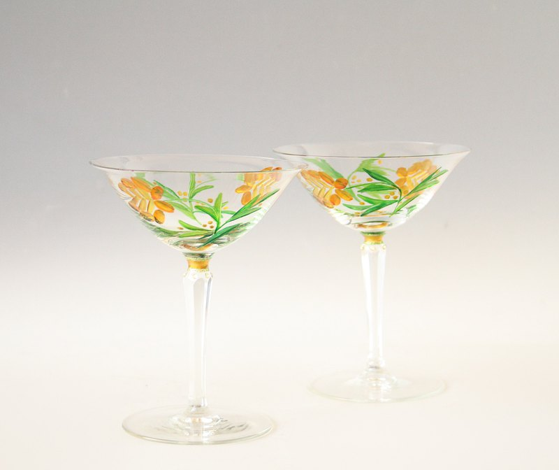 Martini Glasses, Crystal Glasses, Hand Painted set of 2