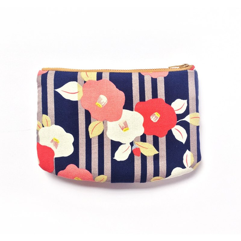 Camellia Zipper Pouch, Change Purse Wallet, Passport Holder, Japanese Prints, Travel Pouch, Padded Small Bag