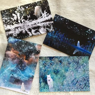 Postcard wolf four set
