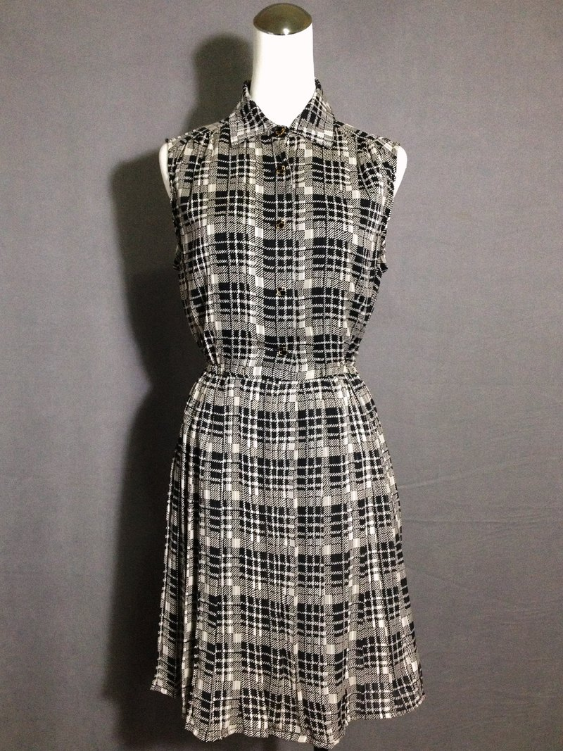 Ping-pong vintage [vintage dress / French classic vintage plaid sleeveless dress] abroad back VINTAGE