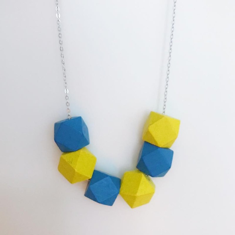 Yellow Blue Wooden Beans Necklace Chrismas Gift Wedding BFF