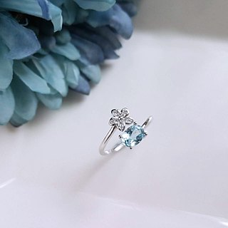 Belle Blossoming Osmanthus Olivine Topaz Topaz 925 Silver Ring Index Finger Ring