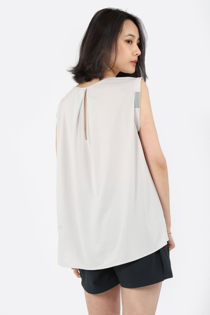 Elegance Fine Round Collar Suction Sleeveless - Apricot