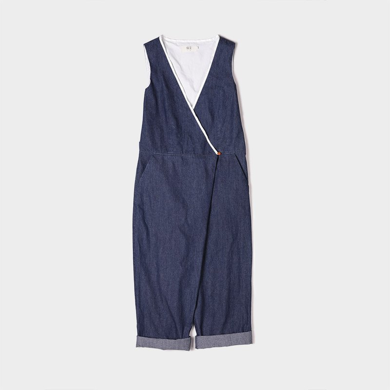 Cotton thin denim slacks sleeveless jumpsuit