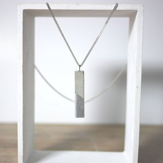 Rectangular prism concrete pendant necklace (Grey with Silver paint)