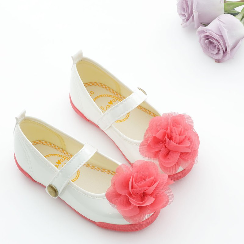 Blair Pearl White Coral Red Flower Doll Shoes - (Specialty items only accept returns)