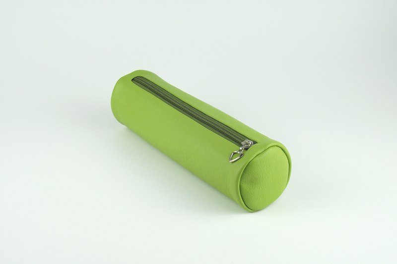 Colorblock literary cylinder pen bag travel storage bag large capacity leather stationery bag grass green