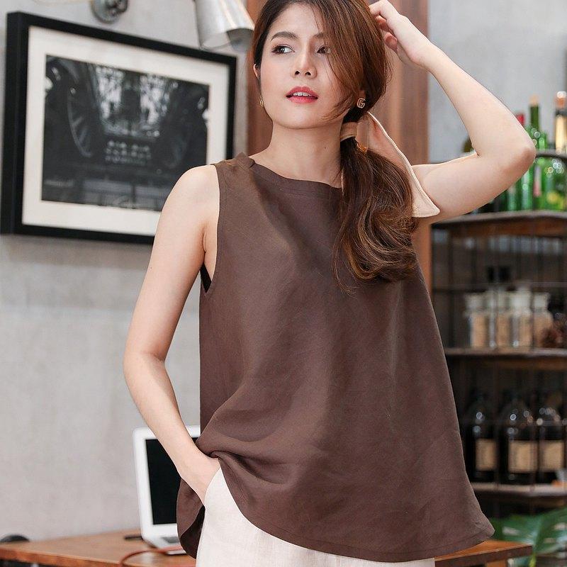 寬鬆的天然麻無袖襯衫 - 巧克力棕色