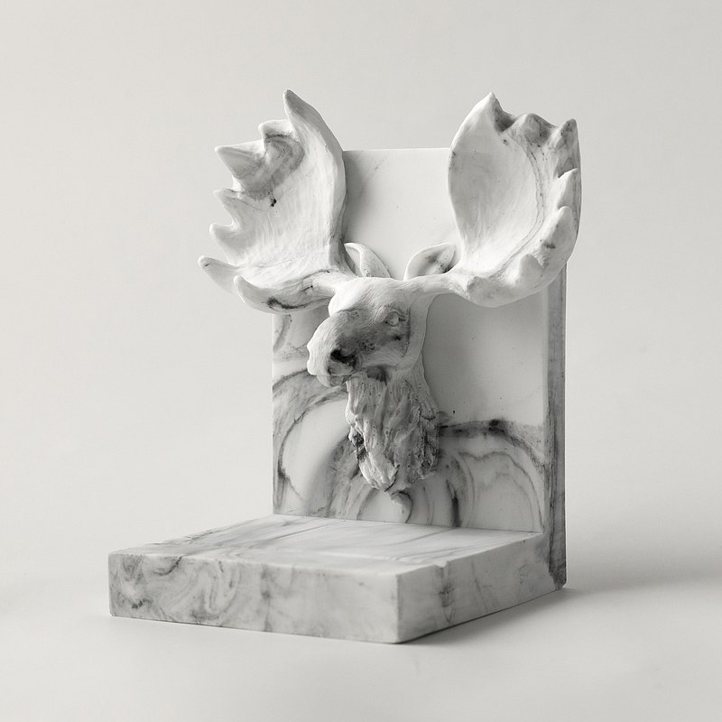 Marble。Bookends。moose