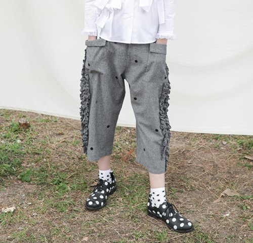 Grey floral casual pants - imakokoni