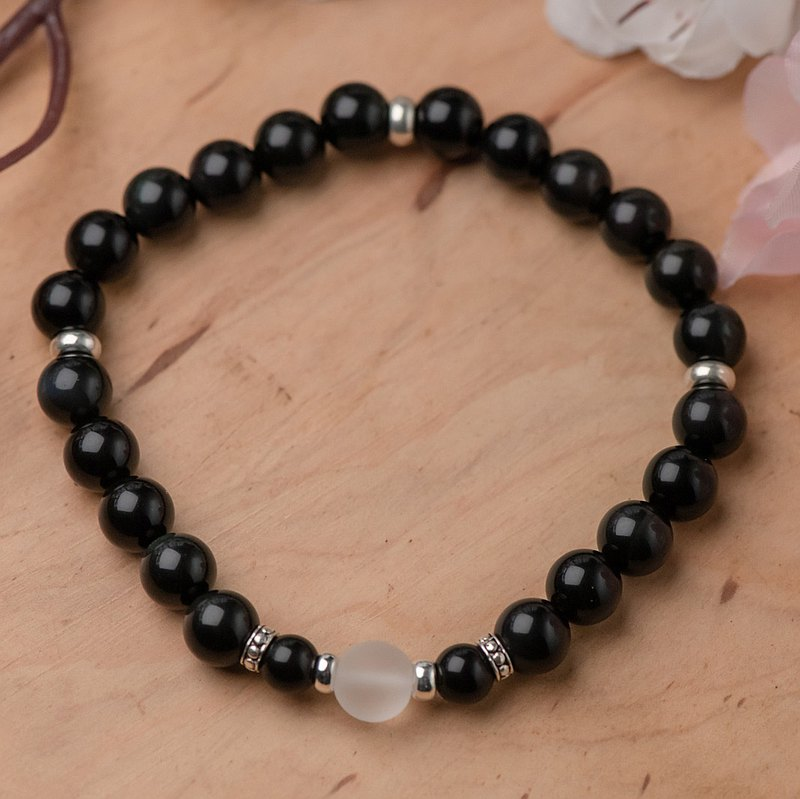 Obsidian series. Ping An A. 8mm obsidian frosted white crystal single layer bracelet.