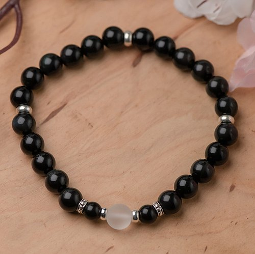 【Woody'sHandmade】平安。黑曜石8mm單層手串系列(A款)。Safety - Black obsidian 8mm beams single circle (Style: A)