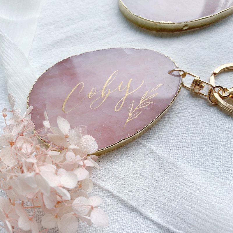 Handwritten English Calligraphy Pink Crystal Keychain