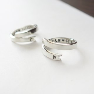925 Silver  Ribbon Style-Customer-designed Stamped-steel Alphabet Ring