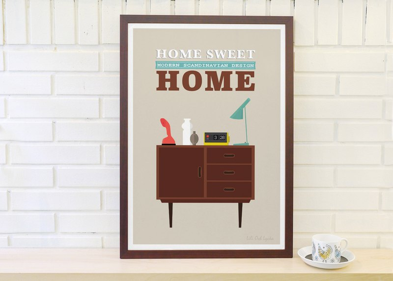 Nordic retro minimalist poster Home Sweet Home No. 2 original customizable painting without frame