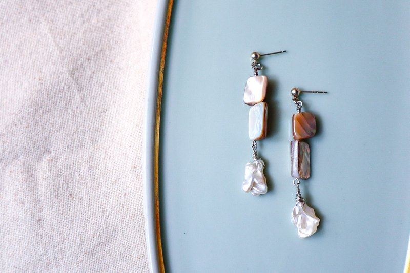 Less is More, Chic Biwa freshwater Pearl and shell dangling earrings/ clip on