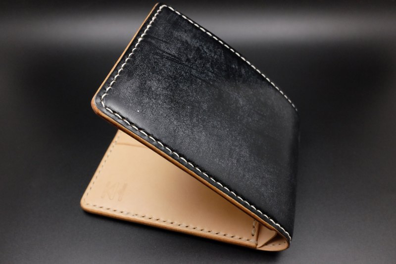 [KH] top British saddle skin x European primary color vegetable tanned leather short wallet