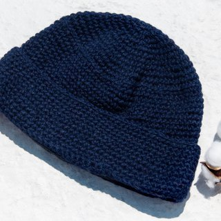 Hand-knitted pure wool cap / knit hat / knitted fur cap / inner brush hair hand-woven wool cap / wool cap - Navy