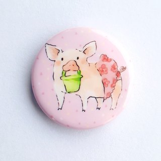I really want to go to the seaside, badge, pin, petal, pig