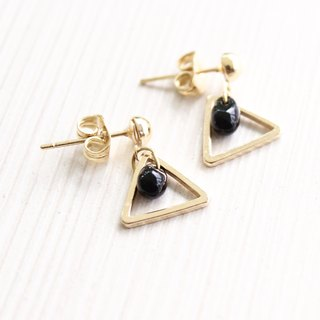 [Da Da Daily] Triangle black nature stone gold earrings