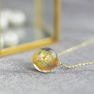 The last one! Golden enamel glass beads sterling silver gold-plated necklace