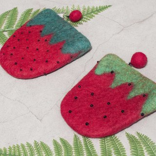 Wool felt storage bag national wind bag leisure card set mobile phone bag purse headset bag - embroidery strawberry