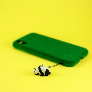 Shibaful Central Park with Panda for  iPhone X 公園草坪手機殼 with熊貓微型 (深綠)