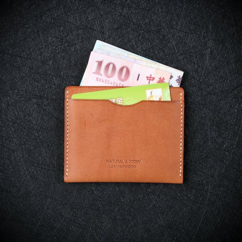 [NS handmade leather goods] card holder, business card holder, short clip (free print)
