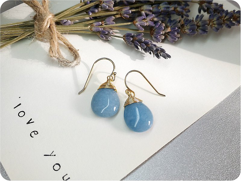 S Lee-925 Silver (Gold Plated) Hand-made Half Treasure Series-Aquamarine Water Drop Ear Hook