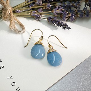 S Lee-925 silver (gold-plated) hand-made semi-precious series - sea blue Sapphire water drops ear hooks