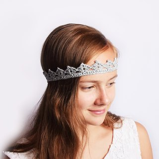 Silver Princess Crown Tiara, Silver Metallic Crown Headband