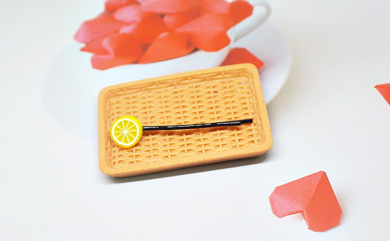 <Simulated Clay Hair Accessories> => Sliced Lemon - Word Clip Series - #俏皮#可爱