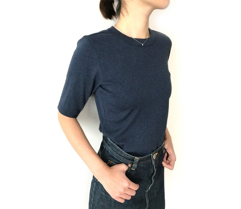 Made in Japan Organic cotton 4-quarter sleeve T-shirt stuck to shape NAVY