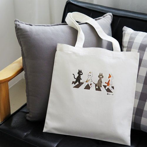 Cotton Totebag Girl Cat Abbey Road