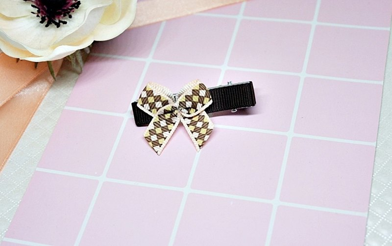 Girls Hair Accessories => Checked Bows - Hair Clips Series - (Mail Free) #女孩儿头饰